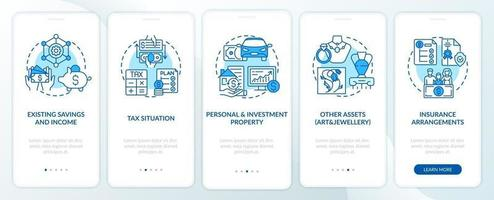 Comprehensive prosperity control onboarding mobile app page screen with concepts vector