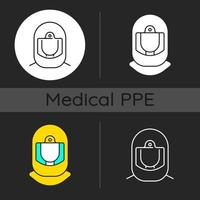Surgical helmet dark theme icons set vector