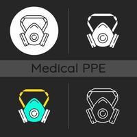 Respirator dark theme icons set vector