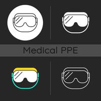 Medical goggles dark theme icons set vector
