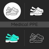 Medical shoes dark theme icons set vector