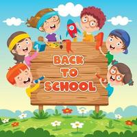Back To School Concept With Funny Children vector