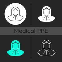 Conjunto de iconos de tema oscuro de capucha médica vector