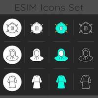 Personal protective equipment dark theme icons set vector