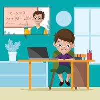 Online School at Home Concept vector
