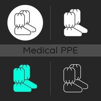 Medical boot covers dark theme icons set vector
