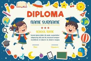 certificado de diploma para niños de preescolar y primaria vector