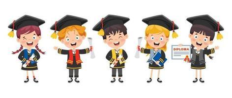 Cartoon Happy Kid In Graduation Costume vector