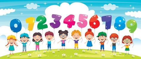 Children Holding Colorful Number Balloons vector