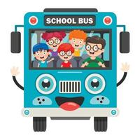Happy Children And School Bus vector