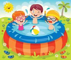niños nadando en una piscina inflable. vector