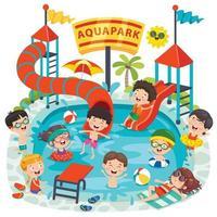 niños nadando en un parque acuático vector