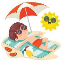 personaje de dibujos animados tomando el sol en la playa vector