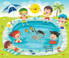 Funny Children Swimming At Pool vector
