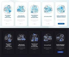 Sustainable tour tips onboarding mobile app page screen with concepts vector