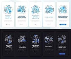 Sugerencias de recorridos sostenibles Pantalla de la página de la aplicación móvil incorporada con conceptos vector