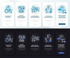 Pantalla de página de la aplicación móvil de incorporación de ideas de turismo sostenible con conceptos vector
