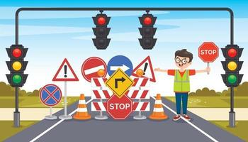 Concept Design With Traffic Signs vector