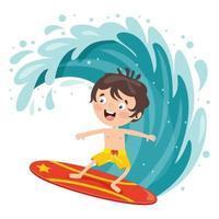 Happy Cartoon Character Surfing At Sea vector