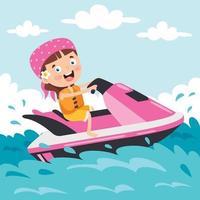 personaje de dibujos animados divertido montando jet ski vector