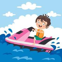 Funny Cartoon Character Riding Jet Ski vector