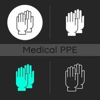 Medical gloves dark theme icons set vector