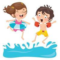 Cartoon Characters Jumping Into Water vector