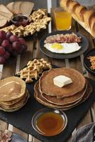 Pancakes, waffles, and other breakfast foods photo