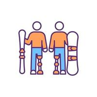 Snowboarding with prosthetic leg RGB color icon vector