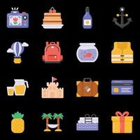 Holiday Equipment and Food icons vector