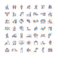 Artificial limbs RGB color icons set vector