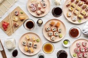 Sushi table spread photo