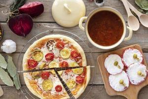 Pizza table spread photo