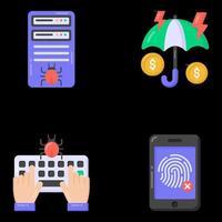iconos de malware y piratería vector