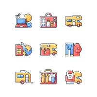 Travel RGB color icons set vector