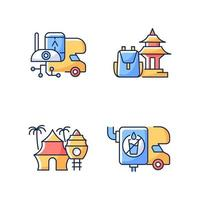 Vacation RGB color icons set vector
