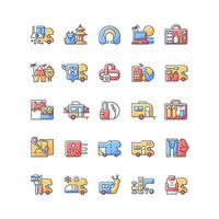 Nomadic vacations RGB color icons set vector