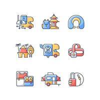 Roadtrip RGB color icons set vector