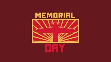Animation Text Memorial Day on Military Background with Airplane video