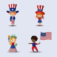 4th Of July Character Set vector