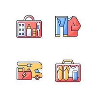 Traveler things for vacation RGB color icons set vector