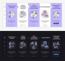 Best sustainable tourism practices onboarding vector template