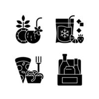 Pickup and delivery option black glyph icons set on white space vector
