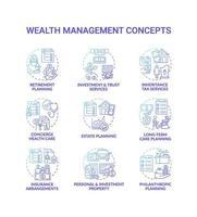 conjunto de iconos de concepto de gestión de la riqueza vector