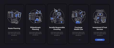 Pantalla de la página de la aplicación móvil de incorporación de consultoría de riqueza con conceptos vector