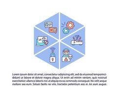iconos de línea de concepto de barreras de adopción de internet con texto vector