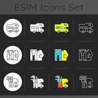 Roadtrip dark theme icons set vector