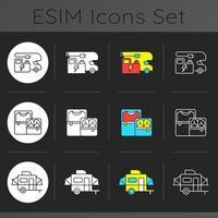 Nomadic lifestyle dark theme icons set vector