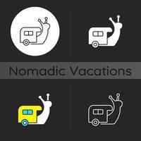Slow travel dark theme icon vector