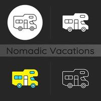 Recreational vehicle dark theme icon vector